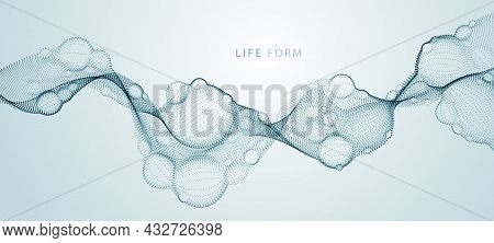 Abstract Vector Biological Fluid, Dotted Horizontal Vector Particle Flow Shape, Nano Medical Technol