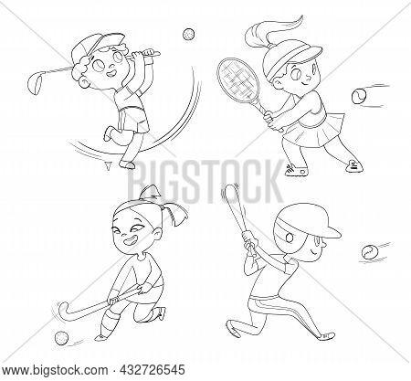 Team Olympic Sport. Field Hockey, Baseball, Tennis, Golfing. Set. Funny Cartoon Characters. Vector I
