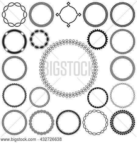 Collection Of Round Decorative Ornamental Border Frames. Ideal For Vintage Label Designs.