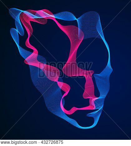 Spirit Of Digital Electronic Time, Artificial Intelligence Vector Illustration Of Human Head Made Of