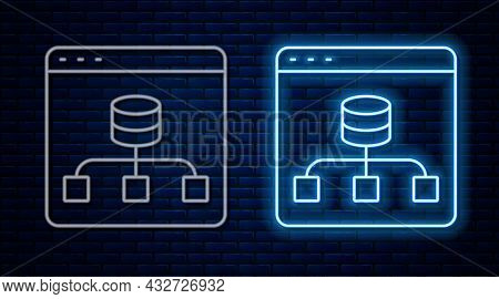 Glowing Neon Line Server, Data, Web Hosting Icon Isolated On Brick Wall Background. Vector