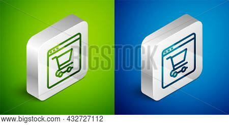 Isometric Line Online Shopping On Screen Icon Isolated On Green And Blue Background. Concept E-comme