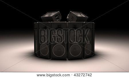 Black speakers in circle