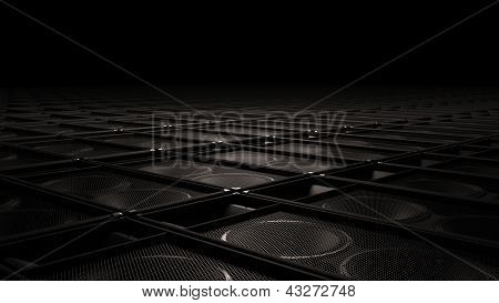 Black speakers as endless ground