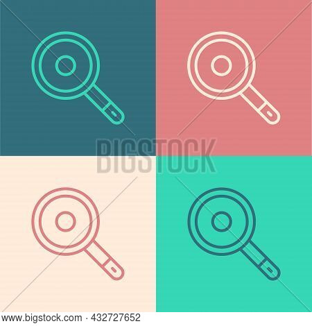 Pop Art Line Frying Pan Icon Isolated On Color Background. Fry Or Roast Food Symbol. Vector