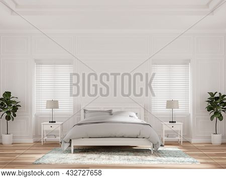 Luxurious Bedroom With Blank White Classic Walls 3d Render.the Rooms Have Wooden Floors Decorate Wit