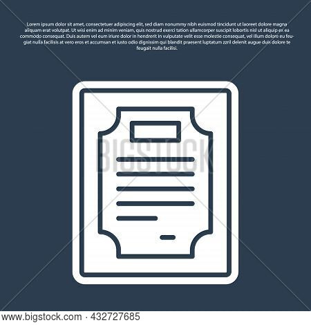 Blue Line Certificate Template Icon Isolated On Blue Background. Achievement, Award, Degree, Grant,