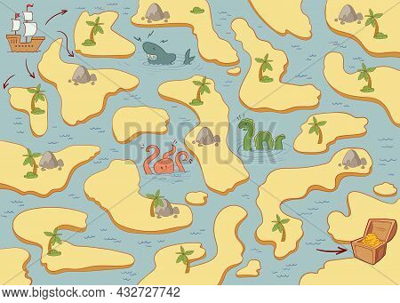 Find The Right Path On The Map. Find Pirate Treasure. Old Treasure Map. Children Puzzle. Colorful Ca
