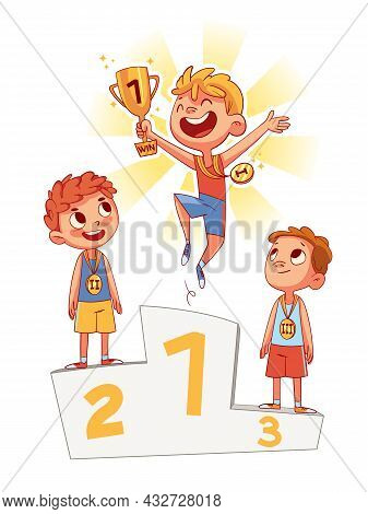 Winner Podium. Colorful Cartoon Characters. Funny Vector Illustration. Isolated On White Background