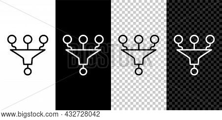 Set Line Funnel Or Filter Icon Isolated On Black And White, Transparent Background. Vector