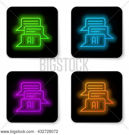Glowing Neon Line Chat Bot Icon Isolated On White Background. Chatbot Icon. Black Square Button. Vec