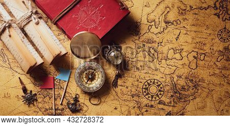 Happy Columbus Day Concept. Vintage Compass And Treasure Manuscript.  Flat Lay, Top View With Copy S