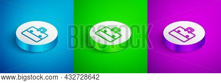 Isometric Line Briefcase Icon Isolated On Blue, Green And Purple Background. Business Case Sign. Bus