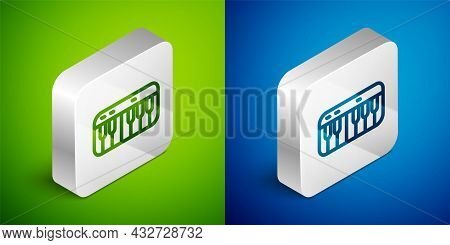 Isometric Line Music Synthesizer Icon Isolated On Green And Blue Background. Electronic Piano. Silve