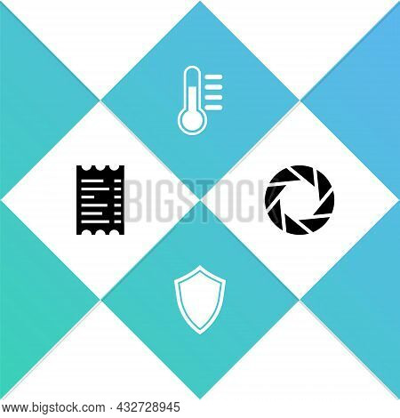 Set Paper Or Financial Check, Shield, Thermometer And Camera Shutter Icon. Vector