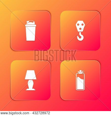 Set Fitness Shaker, Industrial Hook, Table Lamp And Sport Bottle With Water Icon. Vector