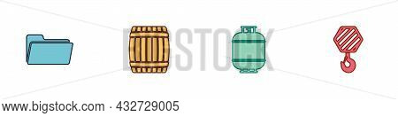 Set Folder, Wooden Barrel, Propane Gas Tank And Industrial Hook Icon. Vector