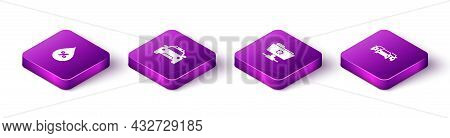 Set Isometric Water Drop Percentage, Police Car And Flasher, Ftp Sync Refresh And Cars Icon. Vector