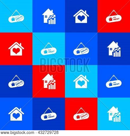 Set Hanging Sign With Sold, Rising Cost Of Housing, House Heart Shape And For Rent Icon. Vector