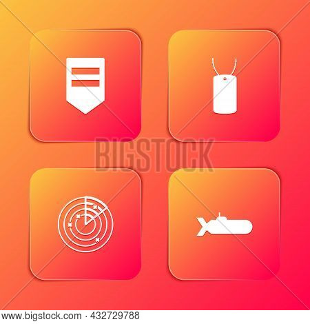 Set Chevron, Military Dog Tag, Radar With Targets And Submarine Icon. Vector