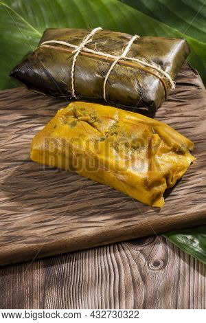 Tamale Typical Colombian Food Wrapped In Banana Leaves