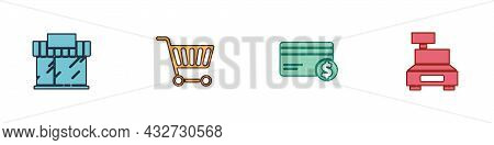 Set Shopping Building Or Market Store, Cart, Credit Card And Dollar And Cash Register Machine Icon.