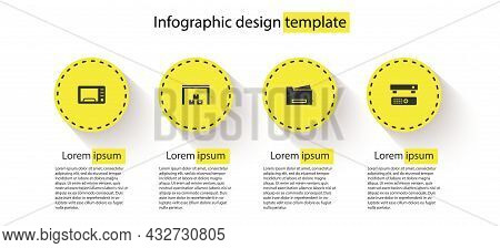 Set Microwave Oven, Warehouse, Printer And Multimedia And Tv Box. Business Infographic Template. Vec