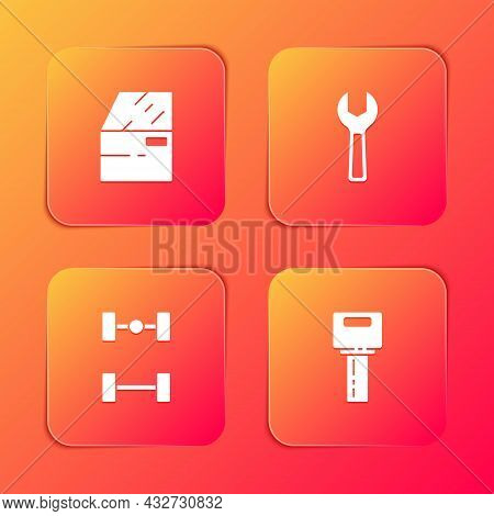 Set Car Door, Wrench Spanner, Chassis Car And Key With Remote Icon. Vector