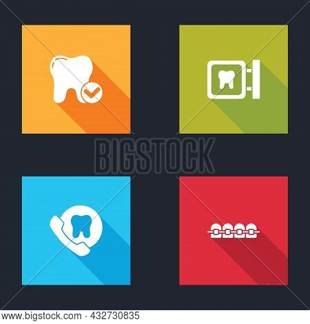 Set Tooth Whitening Concept, Dental Clinic Location, Online Dental Care And Teeth With Braces Icon.