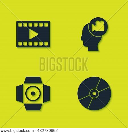 Set Play Video, Cd Or Dvd Disk, Movie Spotlight And Head With Camera Icon. Vector