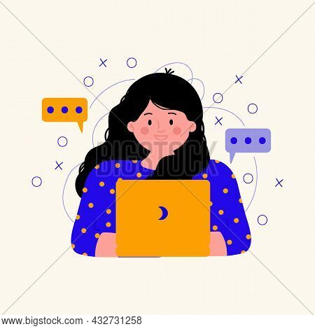 Illustration Of A Woman With A Laptop. Customer Support Services In An Online Chat. A Person With A