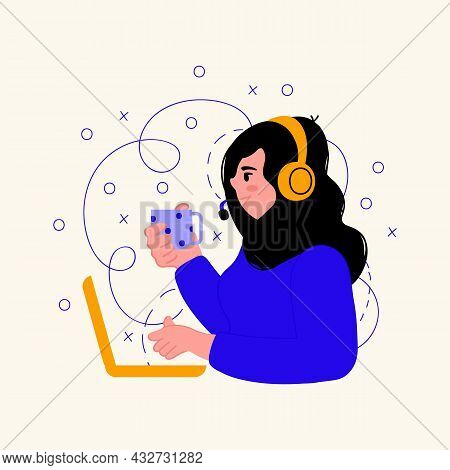 Illustration Of A Female Customer Support Service. A Person With A Laptop, Headphones With A Microph