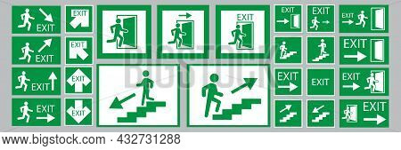 Exit Signs. Evacuation Symbol. Safety Notice. White Backdrop. Green Background. Vector Illustration.
