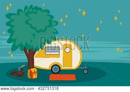 Night Illustration Of A Camping Van On Vacation. A Vehicle For A Roadside House Among The Trees. Cam