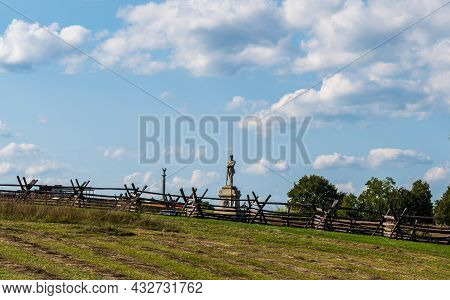 Sharpsburg, Maryland, Usa September 11, 2021 The Monument For The 130th Pennsylvania Regiment On The