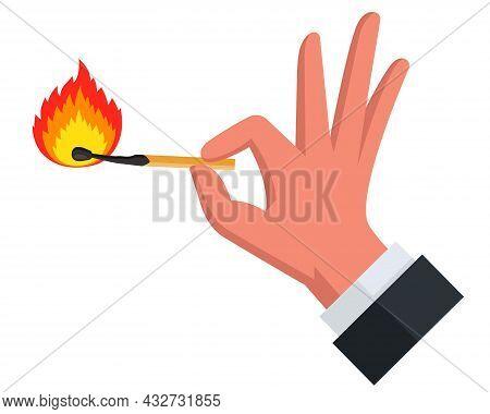 Burning Match On A White Background. Flat Vector Illustration