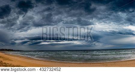 Menacing Storm Front Rolling Through Port Philip Bay Approaching Frankston Beach