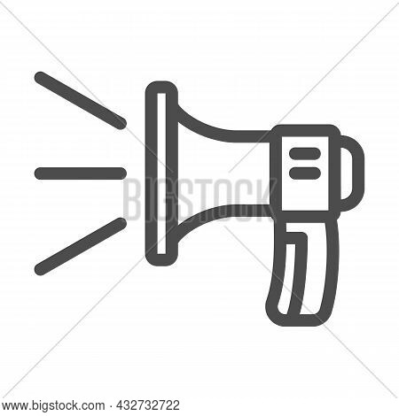 Loudspeaker, Sound Lines, Loud Speaker Line Icon, Acoustic Concept, Megaphone Vector Sign On White B