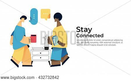 Business Character Drink Coffee And Have Conversation, Talk, Chat With Friend At Office On Morning B