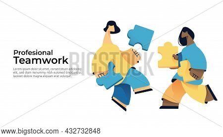Teamwork, Partner Cooperation And Partnership Concept. People Character Connecting Puzzle Jigsaw Pie