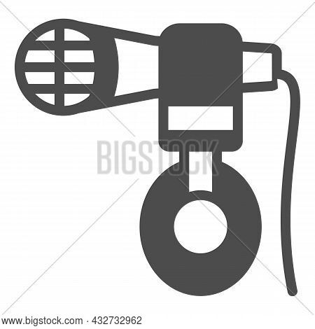 Headphones Hang On Microphone Solid Icon, Sound Design Concept, Mic And Headset Vector Sign On White