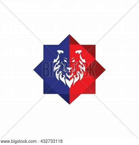 Abstract Lion Head Stylish Logo Icon Flat Vector Concept Graphic Simple Stylish Design