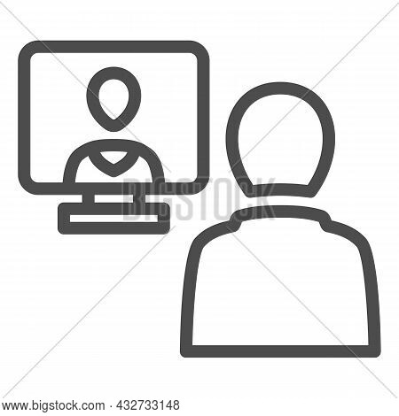 Distance Learning, Online Communication Line Icon, Connection Concept, Online Meeting Vector Sign On