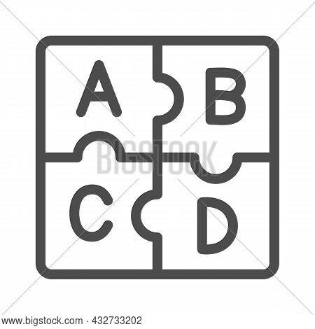 Letters Abc, Puzzle Alphabet Line Icon, Linguistics Concept, Puzzle Pieces Letter Vector Sign On Whi