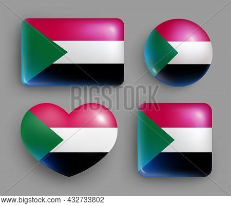 Set Of Glossy Buttons With Sudan Country Flag. Eastern Africa Country National Flag, Shiny Geometric