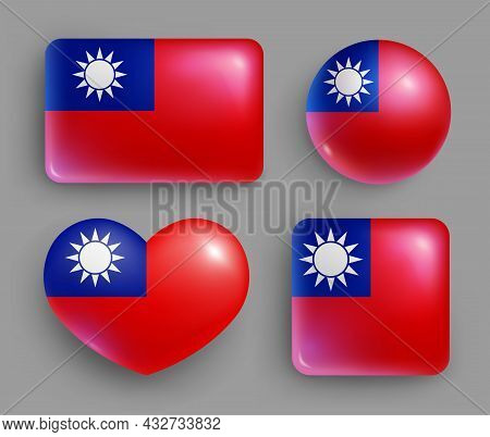 Set Of Glossy Buttons With Taiwan Country Flag. East Asia Country National Flag, Shiny Geometric Sha