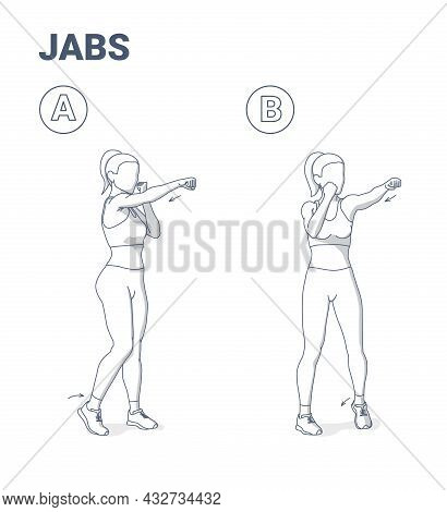 Woman Doing Jabs Exercise Fitness Home Workout Guidance Illustration. Girl Boxing Move Jab Punch.