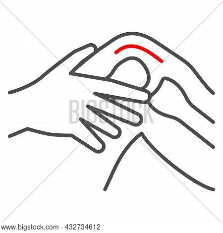 Knee Joint Hurts Thin Line Icon, Body Pain Concept, Joint Strain Ache Vector Sign On White Backgroun
