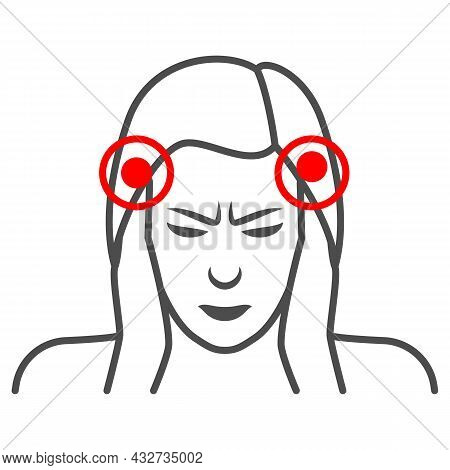 Woman Temples Hurt Thin Line Icon, Body Pain Concept, Person Has Pain In The Temples Vector Sign On