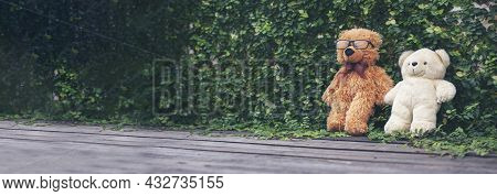 Banner Smiling Teddy Bear Best Friends Toy For Kids. Panoramic Fluffy Brown Teddy Bear Happy In Gree